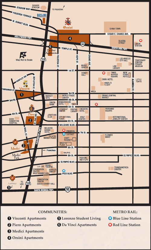 Map Directions To The Orsini In Downtown Los Angeles Ca